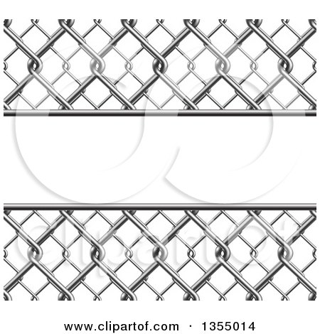 Clipart of a 3d Chainlink Fence Background with a Panel - Royalty Free Vector Illustration by vectorace