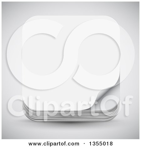 Clipart of a 3d Paper Icon over Shading - Royalty Free Vector Illustration by vectorace