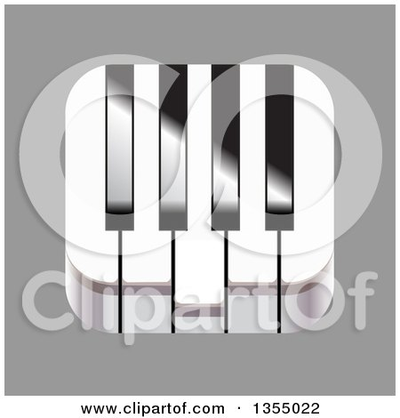 Clipart of a 3d Piano Keyboard Music Icon on Gray - Royalty Free Vector Illustration by vectorace