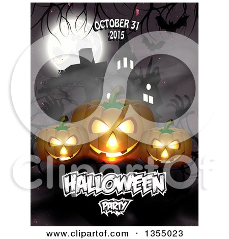 Clipart of a Halloween Party Date Design with Jackolantern Pumpkins, Zombie Hands, Bats, a Haunted House and Full Moon - Royalty Free Vector Illustration by vectorace