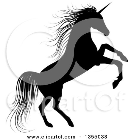 Clipart of a Silhouetted Black Unicorn Rearing - Royalty Free Vector Illustration by vectorace