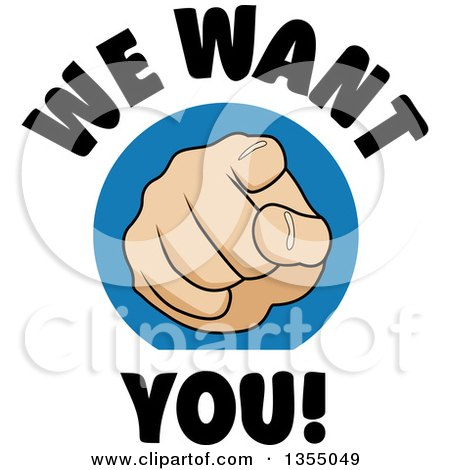 Cartoon Hand Pointing Outward With We Want You Text