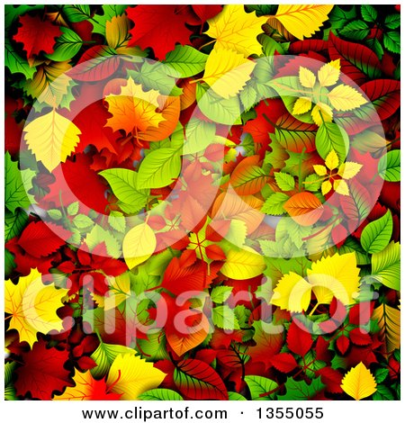 Clipart of a Background of 3d Autumn Leaves in Red, Orange, Yellow and Green - Royalty Free Vector Illustration by vectorace