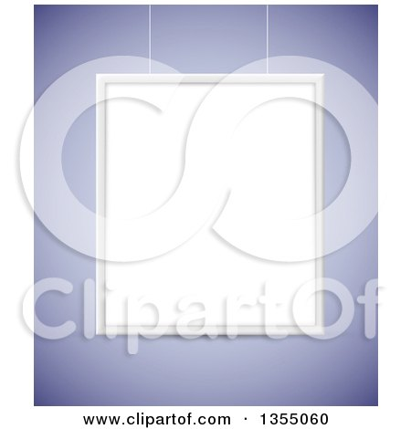 Clipart of a 3d Blank Suspended Frame or Sign on Purple - Royalty Free Vector Illustration by vectorace