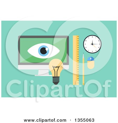 Clipart of a Flat Design Desktop Computer with a Light Bulb, Ruler, Pencil, Clock and Mouse over Green - Royalty Free Vector Illustration by vectorace