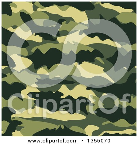 Clipart of a Seamless Background of Green Camouflage - Royalty Free Vector Illustration by vectorace