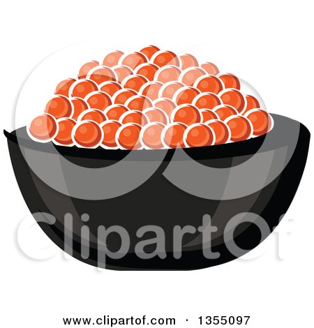 Clipart of a Cartoon Bowl of Red Caviar - Royalty Free Vector Illustration by Vector Tradition SM