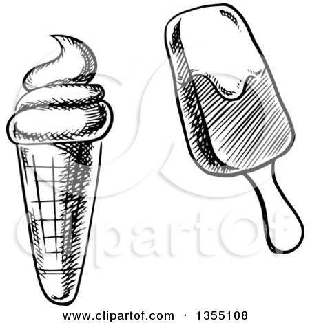 Clipart of a Black and White Sketched Waffle Ice Cream ...