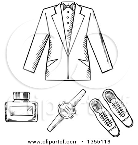 Clipart of a Man's Formal Jacket, Shoes, Watch and Cologne Bottle - Royalty Free Vector Illustration by Vector Tradition SM