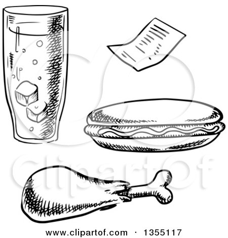 Clipart of a Black and White Sketched Glass of Soda, Chicken Drumstick, Hot Dog and Receipt - Royalty Free Vector Illustration by Vector Tradition SM