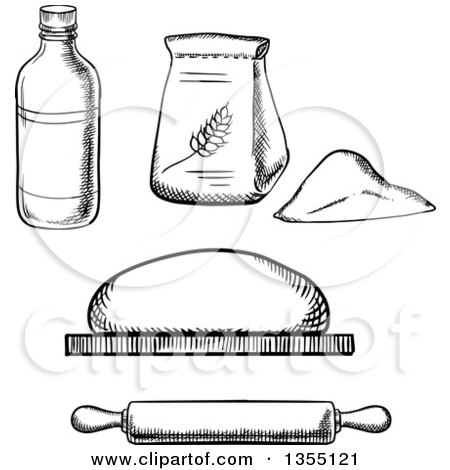 Clipart Of Black And White Sketched Baking Supplies