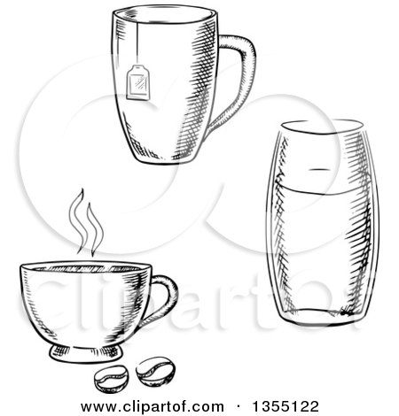Black and White Sketched Tea, Coffee and Water Cups Posters, Art Prints