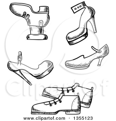 Clipart of Black and White Sketched Shoes - Royalty Free Vector Illustration by Vector Tradition SM