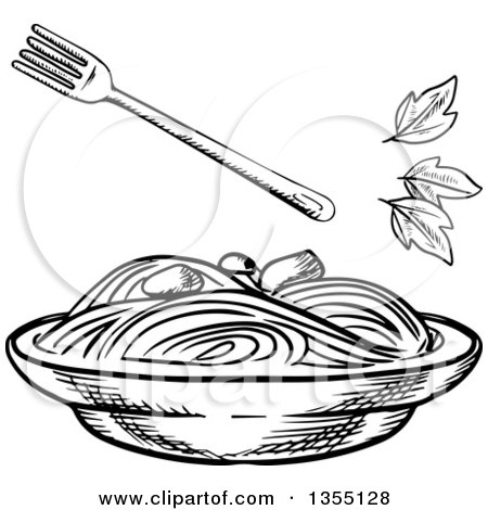 clipart of a black and white sketched bowl of spaghetti