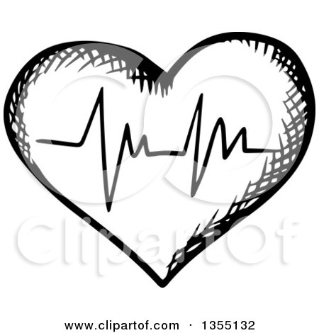 Clipart of a Black and White Sketched ECG Graph Heart - Royalty Free Vector Illustration by Vector Tradition SM