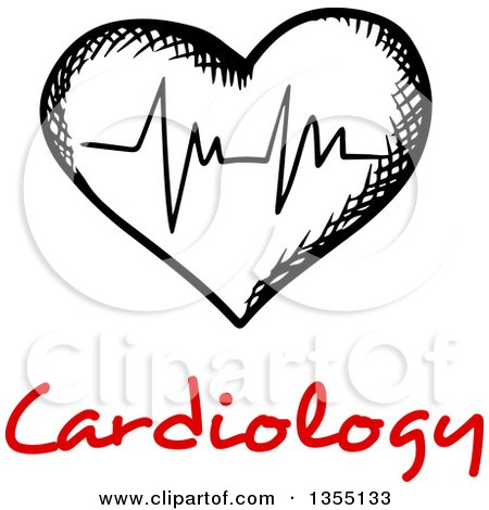 Clipart of a Black and White Sketched ECG Graph Heart over Red Cardiology Text - Royalty Free Vector Illustration by Vector Tradition SM