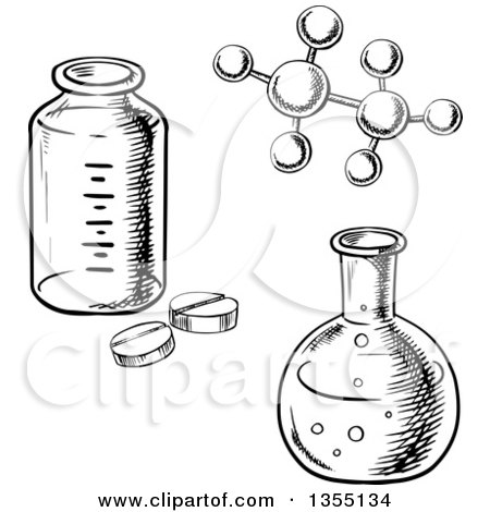 Clipart of a Black and White Sketched Flask, Bottle, Pills and Molecular Model - Royalty Free Vector Illustration by Vector Tradition SM