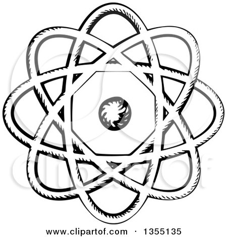 Clipart of a Black and White Sketched Atom with Nucleus and Orbits - Royalty Free Vector Illustration by Vector Tradition SM