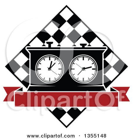 Clipart of a Black and White Chess Board and Game Clock with Blank Red Banner - Royalty Free Vector Illustration by Vector Tradition SM