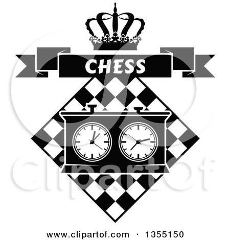 Clipart of a Black and White Chess Board and Game Clock with a Crown and Chess Banner - Royalty Free Vector Illustration by Vector Tradition SM