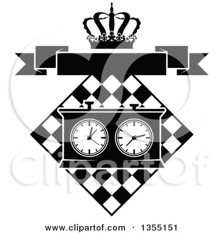 Clipart of a Black and White Chess Board and Game Clock with a Crown and Blank Banner - Royalty Free Vector Illustration by Vector Tradition SM