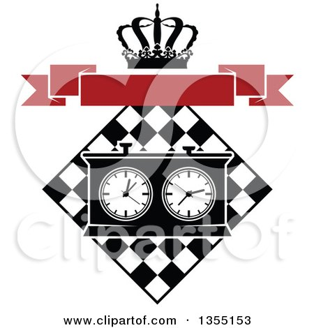Clipart of a Black and White Chess Board and Game Clock with a Crown and Blank Red Banner - Royalty Free Vector Illustration by Vector Tradition SM