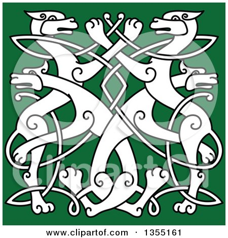 Clipart of a White Celtic Wild Dog Knot on Green - Royalty Free Vector Illustration by Vector Tradition SM