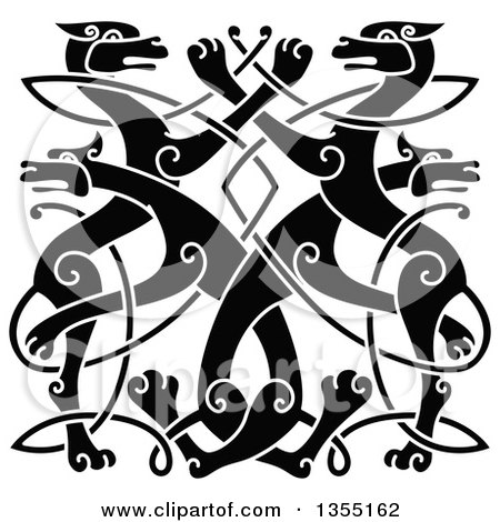 Clipart of a Black Celtic Wild Dog Knot - Royalty Free Vector Illustration by Vector Tradition SM