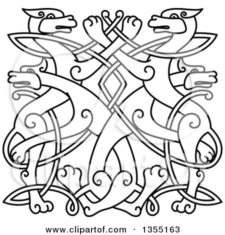 Clipart of a Black Outlined Celtic Wild Dog Knot - Royalty Free Vector Illustration by Vector Tradition SM