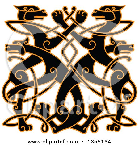 Clipart of a Black Celtic Wild Dog Knot Outlined in Orange - Royalty Free Vector Illustration by Vector Tradition SM