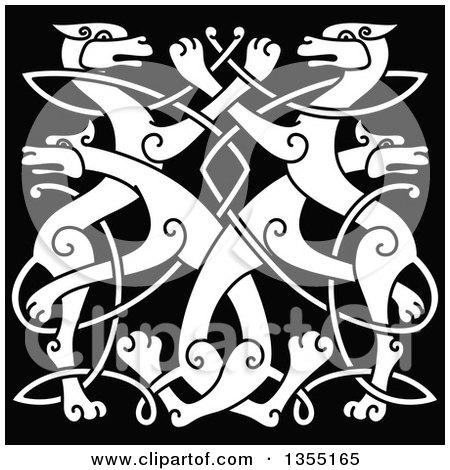 Clipart of a White Celtic Wild Dog Knot on Black - Royalty Free Vector Illustration by Vector Tradition SM