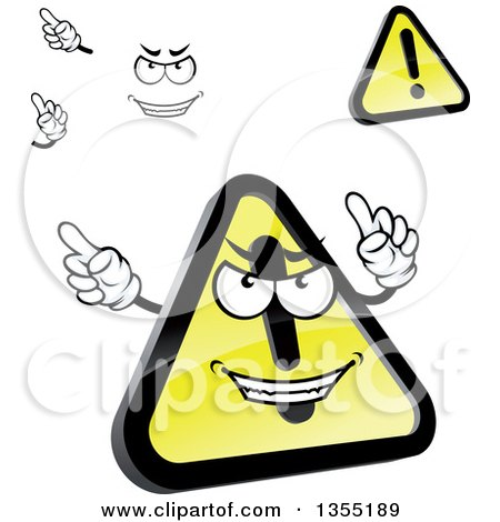 Clipart of a Cartoon Face, Hands and Shiny Hazard Warning Signs - Royalty Free Vector Illustration by Vector Tradition SM