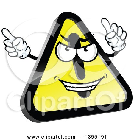 Clipart of a Shiny Hazard Warning Sign Character - Royalty Free Vector Illustration by Vector Tradition SM