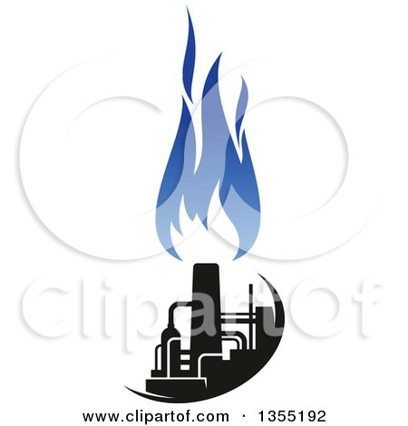 Clipart of a Silhouetted Blue and Black Natural Gas and Flame Factory - Royalty Free Vector Illustration by Vector Tradition SM