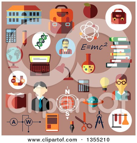 Clipart of Flat Esign Education and Science Icons over Pink - Royalty Free Vector Illustration by Vector Tradition SM