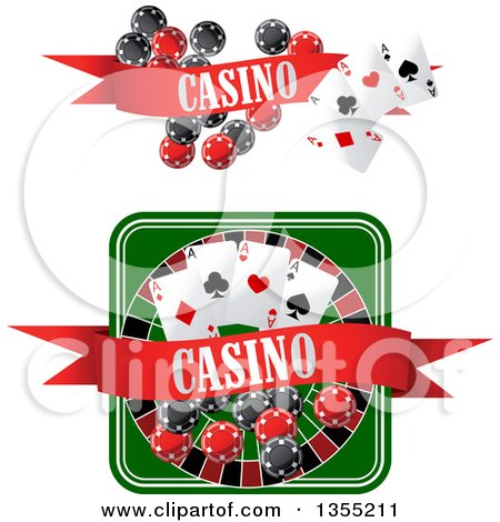 Clipart of Casino Roulette Wheel, Poker Chips, and Playing Cards Designs - Royalty Free Vector Illustration by Vector Tradition SM