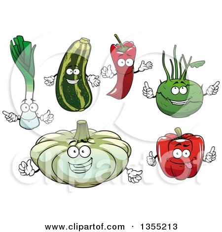 Clipart of Cartoon Leek, Squash, Paprika Pepper, Kohlrabi, Red Bell Pepper and Pattypan Squash Characters - Royalty Free Vector Illustration by Vector Tradition SM
