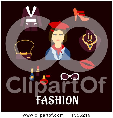 Clipart of a Flat Design Woman in Red Beret and Neckerchief with Accessories over Text on Black - Royalty Free Vector Illustration by Vector Tradition SM