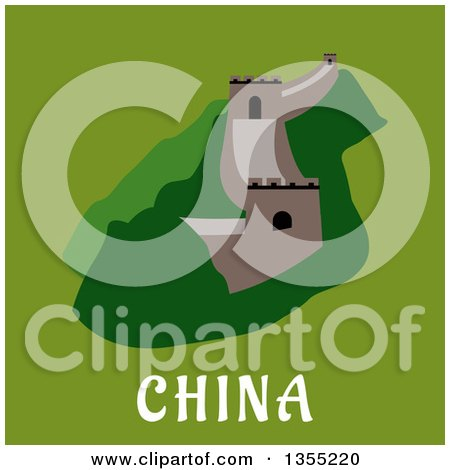 Clipart of a Flat Design of the Great Wall of China over Text on Green - Royalty Free Vector Illustration by Vector Tradition SM