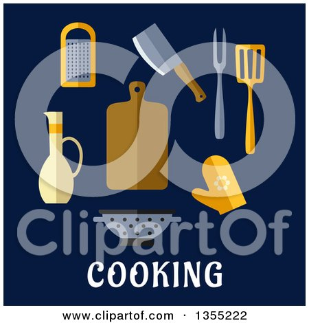 Clipart of Flat Design Kitchen Tools over Text on Blue - Royalty Free Vector Illustration by Vector Tradition SM