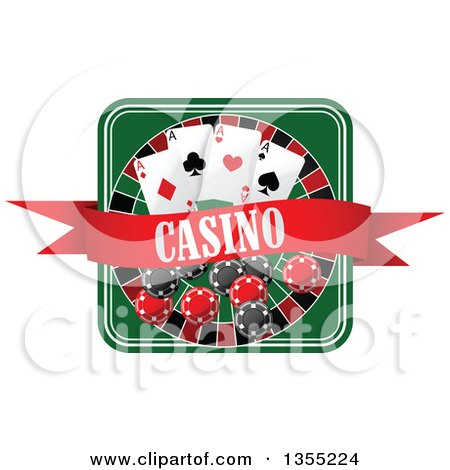 Clipart of a Casino Roulette Wheel with Poker Chips, Playing Cards and a Banner - Royalty Free Vector Illustration by Vector Tradition SM