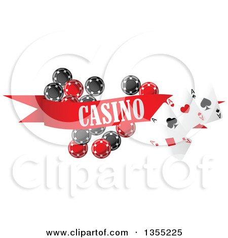 Clipart of a Casino Banner with Playing Cards and Poker Chips - Royalty Free Vector Illustration by Vector Tradition SM