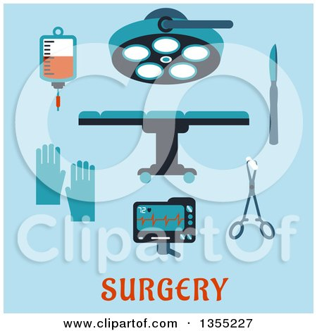 Clipart of a Flat Design Operating Table, Surgical Lamp, Scalpel, Forceps, Sponge, Gloves, Heartbeat Monitor, Blood Bag and Text on Blue - Royalty Free Vector Illustration by Vector Tradition SM