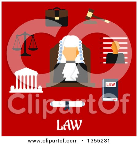 Clipart of a Flat Design Judge Wearing a Wig, with a Law Book, Gavel, Prisoner Photo, Court Building, Scales, Paper Scroll, Briefcase and Text on Red - Royalty Free Vector Illustration by Vector Tradition SM