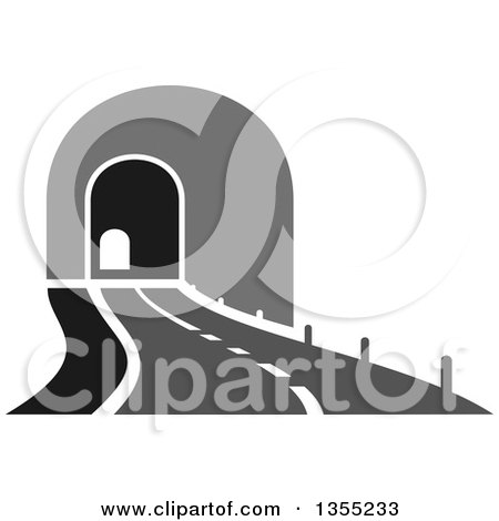 Clipart of a Grayscale Road Leading to a Tunnel - Royalty Free ...
