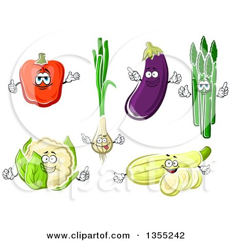 Clipart of Cartoon Red Bell Pepper, Green Onion, Eggplant, Asparagus, Cauliflower and Squash Characters - Royalty Free Vector Illustration by Vector Tradition SM