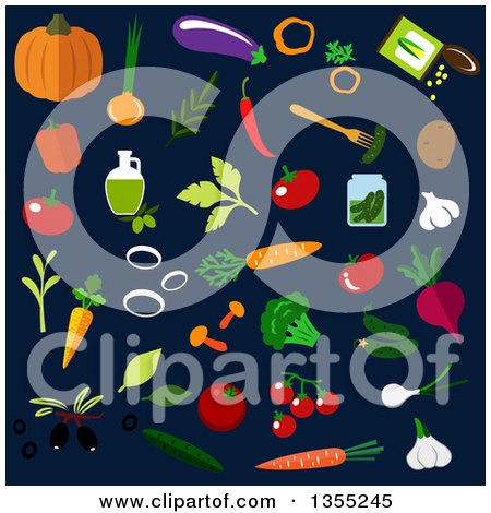 Clipart of Flat Design Vegetables over Dark Blue - Royalty Free Vector Illustration by Vector Tradition SM