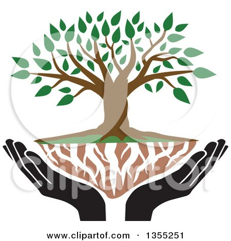 Clipart of a Tree with Green Leaves, White Roots and Black Uplifted Hands - Royalty Free Vector Illustration by Johnny Sajem