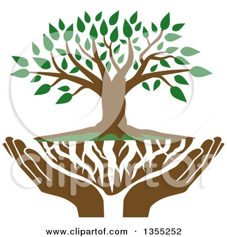 Clipart of a Tree with Green Leaves, White Roots and Uplifted Hands - Royalty Free Vector Illustration by Johnny Sajem