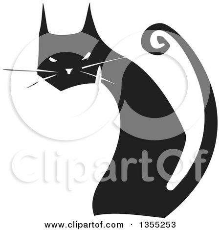 Clipart of a Black and White Woodcut Black Cat Sitting and Looking Back - Royalty Free Vector Illustration by xunantunich